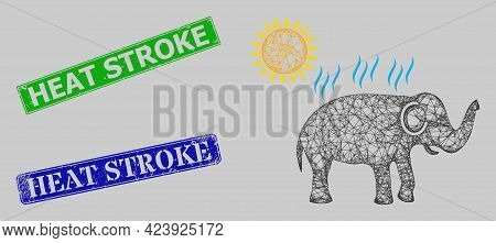 Carcass Net Elephant Under Sun Heat Model, And Heat Stroke Blue And Green Rectangle Unclean Stamp Se