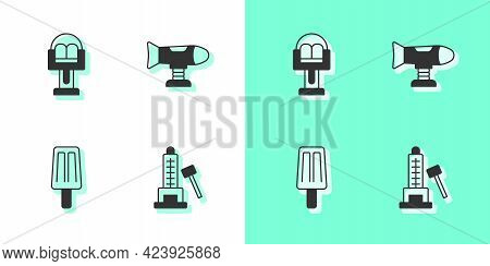 Set Striker Attraction With Hammer, Attraction Carousel, Ice Cream And Swing Plane Icon. Vector
