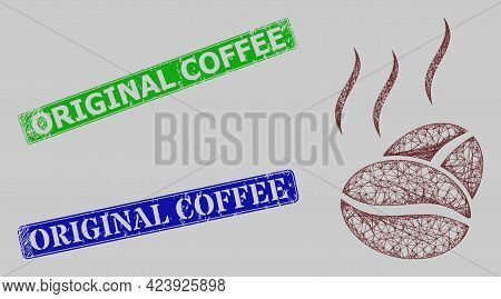 Carcass Crossing Mesh Cacao Aroma Model, And Original Coffee Blue And Green Rectangular Corroded Sta