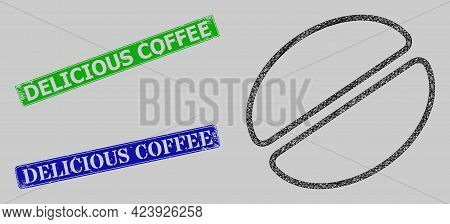 Wireframe Net Mesh Cacao Bean Model, And Delicious Coffee Blue And Green Rectangular Corroded Stamp