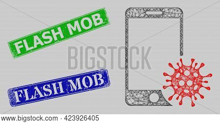 Carcass Net Smartphone Virus Model, And Flash Mob Blue And Green Rectangular Rubber Stamps. Carcass