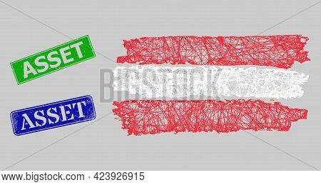 Carcass Net Mesh Austria Flag Model, And Asset Blue And Green Rectangle Corroded Stamp Seals. Frame