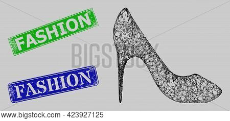 Wireframe Net Mesh High Heel Shoe Model, And Fashion Blue And Green Rectangular Dirty Seals. Carcass