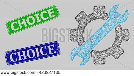 Carcass Net Gear Tools Model, And Choice Blue And Green Rectangular Rubber Seals. Carcass Net Illust