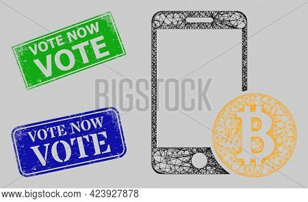 Carcass Net Mobile Bitcoin Payment Model, And Vote Now Blue And Green Rectangle Grunge Seals. Frame