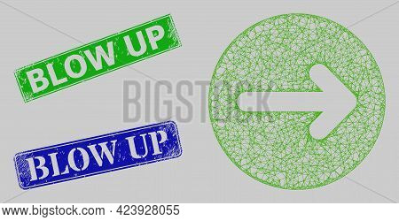 Wireframe Net Mesh Right Direction Model, And Blow Up Blue And Green Rectangular Rubber Stamps. Fram