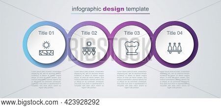 Set Line Drought, Drying Grapes, Chef Hat And Bottle Of Wine. Business Infographic Template. Vector
