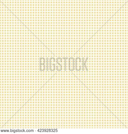 Seamless Checkered Pattern With Hand Drawn Gingam White And Yellow Checks