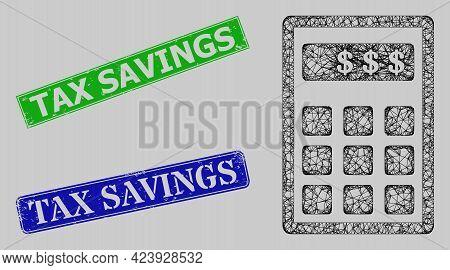 Carcass Net Mesh Dollar Calculator Model, And Tax Savings Blue And Green Rectangle Dirty Seals. Fram