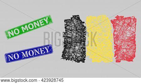 Carcass Net Mesh Belgium Flag Model, And No Money Blue And Green Rectangular Textured Stamp Seals. C