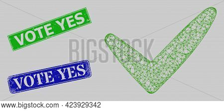 Carcass Net Mesh Yes Model, And Vote Yes Blue And Green Rectangular Corroded Stamp Seals. Carcass Ne