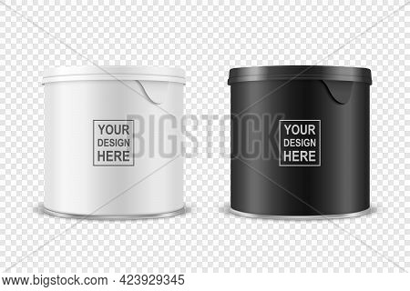 Vector 3d Realistic Blank Glossy White, Black Metal Tin Can, Canned Food, Potato Chips Packaging Wit
