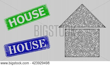 Wireframe Net House Model, And House Blue And Green Rectangle Unclean Seals. Frame Net Mesh Symbol I