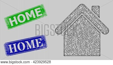 Carcass Net Mesh Home Model, And Home Blue And Green Rectangular Scratched Watermarks. Carcass Net M