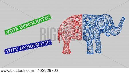 Carcass Crossing Mesh American Democratic Elephant Model, And Vote Democratic Blue And Green Rectang