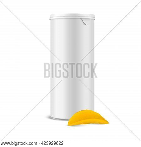 Vector 3d Realistic Blank White Metal Tin Can, Canned Food, Potato Chips Packaging With Lid And Real