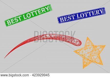 Carcass Net Mesh Falling Star Model, And Best Lottery Blue And Green Rectangular Grunge Seals. Carca
