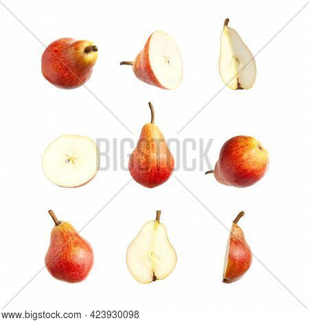 Red Ripe Juicy Pear Isolated On White Background. Sweet Whole Pears And Sliced. Summer Healthy Organ