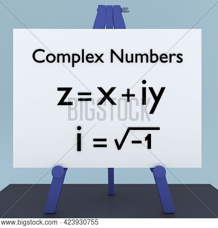 3d Illustration Of Complex Numbers Title, Over The Mathematical Definition Of A Complex Number.
