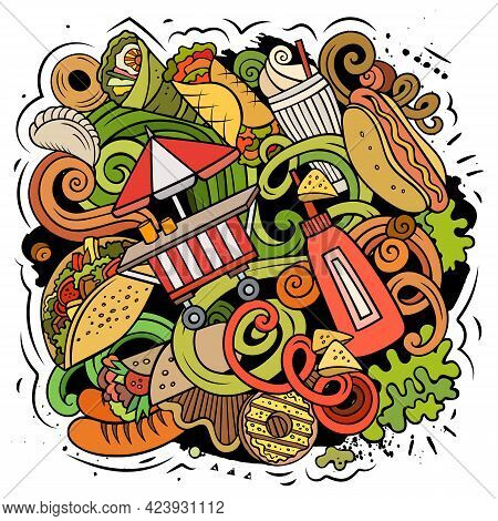 Fastfood Vector Doodles Illustration. Fast Food Design. Unhealthy Food Elements And Objects Cartoon