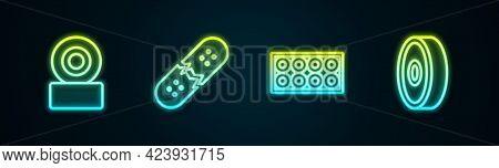 Set Line Skateboard Wheel, Broken Skateboard Deck, And Ball Bearing. Glowing Neon Icon. Vector