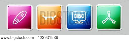 Set Line Longboard Or Skateboard, Skateboard, Wheel And Y-tool. Colorful Square Button. Vector
