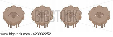 Set Of Cute Sheep With Different Emotions. Vector Illustration Of A Lamb For A Nursery With Animals.