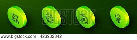 Set Isometric Line Radioactive Waste In Barrel, Power Button, Radiation Nuclear Suitcase And Planet