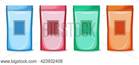 Colorful Blank Doypack Pouch Bag For Food  Packaging With Zipper. Mock Up Template Ready Your Produc