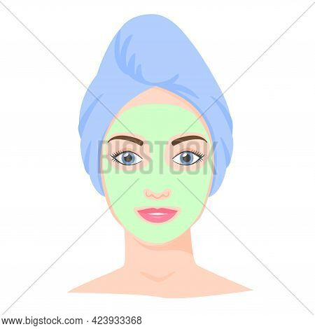 Young White Woman With Cosmetic Mask And Towel On Head. Skincare Procedures At Home. Cosmetic Clay O