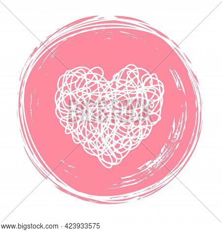 Heart In Circle Shaped Tangled Grungy Scribble