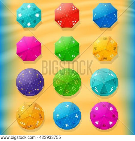 Beach Umbrellas Top View Icons. Collection Summer Of Parasols. Travel Agency Design Elements. Stock