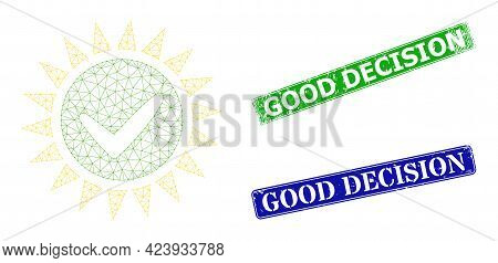 Polygonal Push Yes Model, And Good Decision Blue And Green Rectangle Textured Stamp Seals. Polygonal