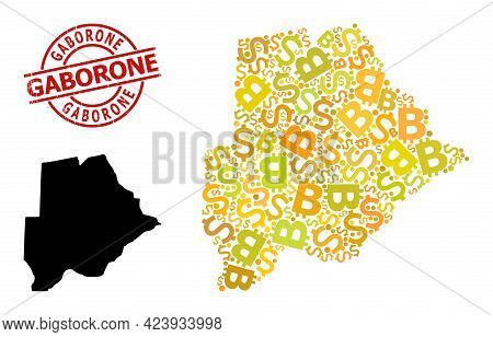 Grunge Gaborone Seal, And Money Mosaic Map Of Botswana. Red Round Seal Includes Gaborone Caption Ins