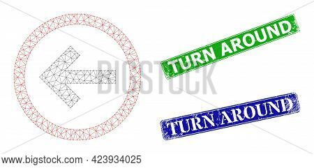 Mesh Back Direction Model, And Turn Around Blue And Green Rectangle Grunge Stamp Seals. Mesh Carcass