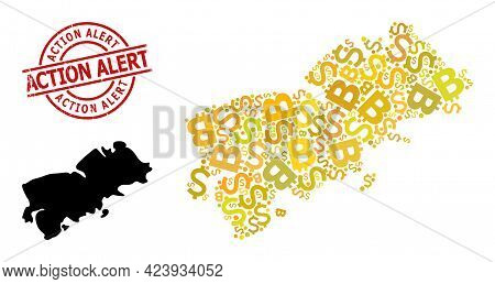 Distress Action Alert Stamp Seal, And Currency Mosaic Map Of Shikotan Island. Red Round Seal Contain