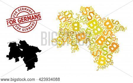 Scratched For Germans Stamp Seal, And Bank Mosaic Map Of Lower Saxony State. Red Round Seal Includes