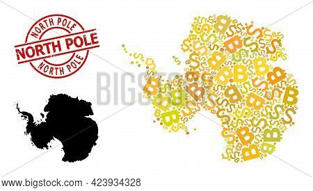 Textured North Pole Stamp Seal, And Bank Mosaic Map Of Antarctica. Red Round Seal Includes North Pol