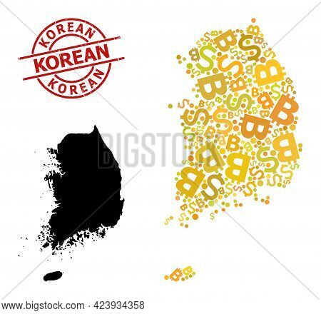 Scratched Korean Seal, And Currency Mosaic Map Of South Korea. Red Round Seal Has Korean Tag Inside