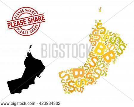 Rubber Please Share Stamp, And Finance Collage Map Of Oman. Red Round Stamp Has Please Share Title I