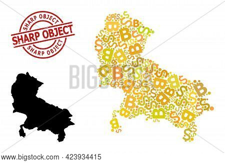 Scratched Sharp Object Seal, And Financial Mosaic Map Of Uttar Pradesh State. Red Round Seal Contain