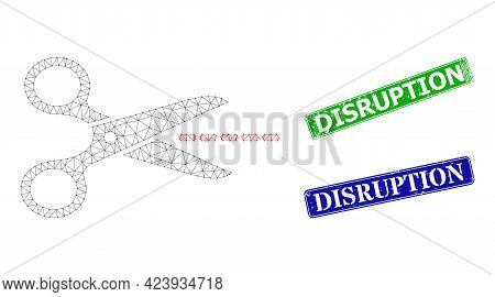 Net Scissors Line Model, And Disruption Blue And Green Rectangle Rubber Stamp Seals. Polygonal Wiref