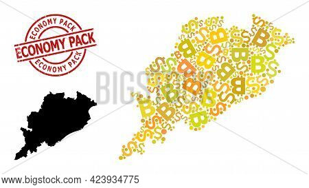 Scratched Economy Pack Stamp Seal, And Currency Collage Map Of Odisha State. Red Round Stamp Seal Co