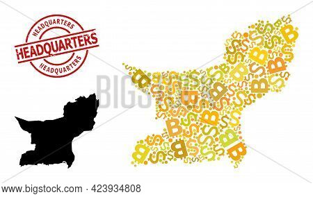 Grunge Headquarters Seal, And Banking Collage Map Of Balochistan Province. Red Round Seal Contains H