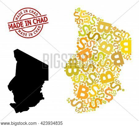 Rubber Made In Chad Stamp Seal, And Finance Mosaic Map Of Chad. Red Round Stamp Seal Has Made In Cha