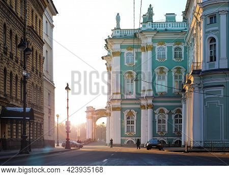 Saint-petersburg Russia January. The Winter Palace In A Sunny Winter Day, View From Millionth Street