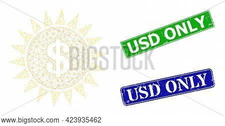 Net Dollar Shine Model, And Usd Only Blue And Green Rectangle Rubber Seals. Mesh Wireframe Image Cre