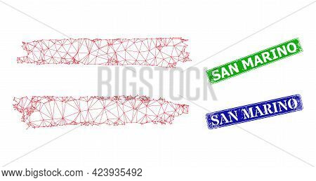 Network Austria Flag Image, And San Marino Blue And Green Rectangle Textured Seals. Mesh Carcass Sym