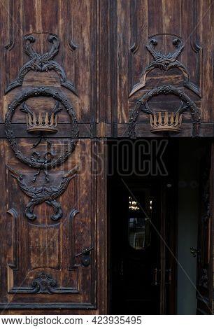 Wooden Door Of Basilica Of St Catherine Of Alexandria In Saint-petersburg, Russia, Catholic Temple