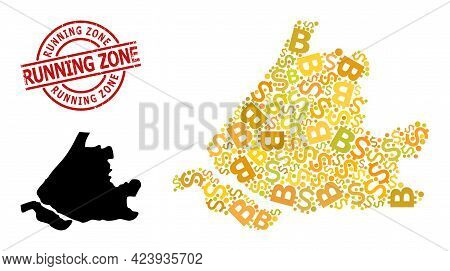 Textured Running Zone Seal, And Currency Mosaic Map Of South Holland. Red Round Seal Includes Runnin